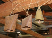 Traditional bulgarian bells - hanging on wooden beam — Stock Photo
