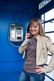 Blonde phone street, talk — Stock Photo