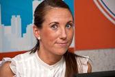 Brunette, woman, office — Stock Photo