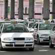 Many taxis waiting for passenger - Stock Photo