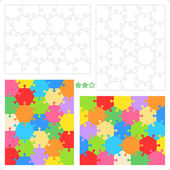 Hexagonal puzzle templates and patterns — Stock Vector