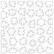 Set of 36 hexagonal puzzle pieces — Stockvectorbeeld