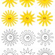 Stock Vector: Set of smiling cartoon suns