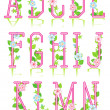 Spring or romantic alphabet set, part 1 — Imagen vectorial