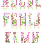 Spring or romantic alphabet set, part 1 — Stock Vector