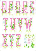 Spring or romantic alphabet set, part 2 — Stock Vector