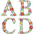 Stock Vector: Floral alphabet set, letters - D