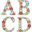 Floral alphabet set, letters A - D — Stock Vector