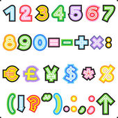 Striped ABC set - numerals, marks, currency — Stock Vector