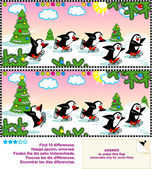 Skating penguins. Spot the differences visual puzzle. — Stock Vector