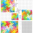 Jigsaw puzzle templates and patterns with whimsically shaped pieces — Vector de stock