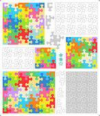 Jigsaw puzzle templates and patterns with whimsically shaped pieces — Stock Vector