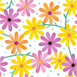 Seamless gerbera daisy flowers pattern, background - Stock Vector