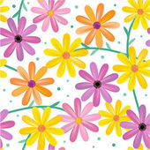 Seamless gerbera daisy flowers pattern, background — Stock Vector