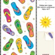 Colorful flip-flops visual logic puzzle - Stock Vector