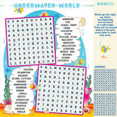 Underwater world word search puzzle — Stock Vector