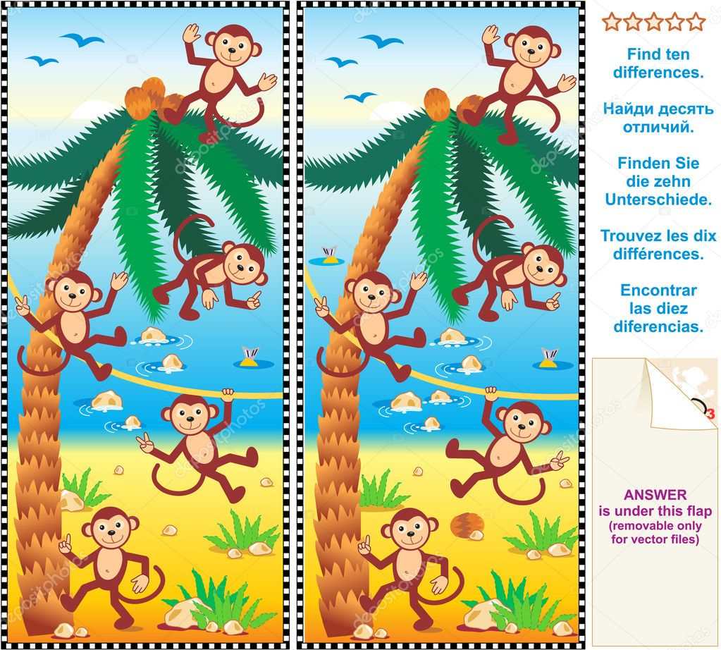 Mental gym visual logic puzzle: Find the ten differences between the two pictures - monkeys, beach, coconut palm — Stock Vector #6284048