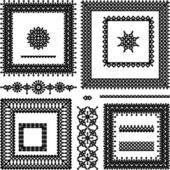 Lace or filigree frames, seamless borders, vignettes — Stock Vector