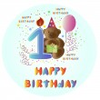 Greeting card Happy Birthday with bear — Stock Vector