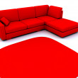 Sofa and carpet in red tones — Stock Photo