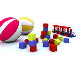 Blocks, balls and locomotive, are child's toys — Stock Photo