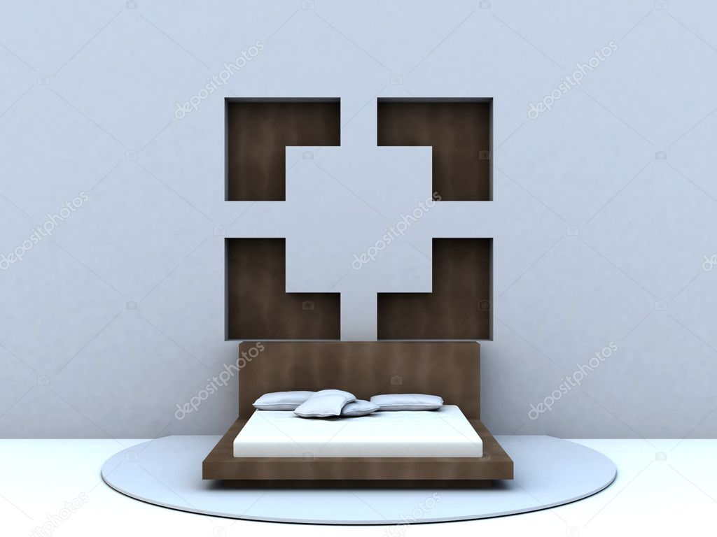 Bed in modern style, standing at a blue wall on a solid carpet — Stock Photo #6122217
