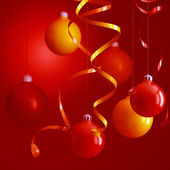 Red and yellow christmas toys — Stok fotoğraf