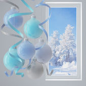 Blue christmas balls — Stock fotografie