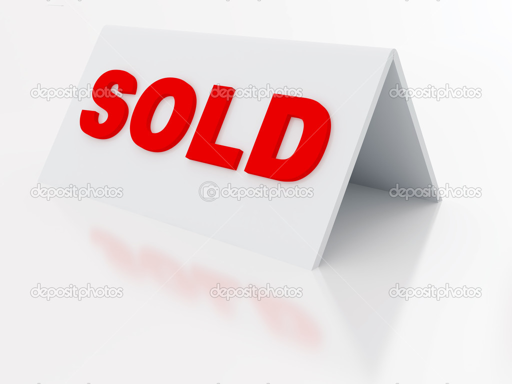 Sign sold on a light plastic tablet on white — Stock Photo #6466133