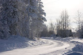 Winter snow bound road — Stock Photo