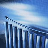 Blue metallizzate colonne del diagramma — Foto Stock