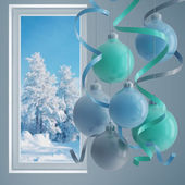 Blue christmas balls i — Stockfoto