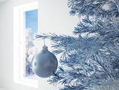Modrý vánoční koule — Stock fotografie