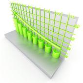 Green columns of diagram — Stock Photo