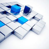 Abstract silver and blue metallic cubes — Stock Photo