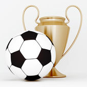 Bronze cup and soccer ball — Stock Photo
