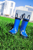 Dark blue child rubber boots — Stock Photo