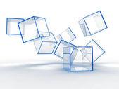 Glass blue cubes — Stock Photo