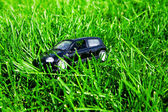 Toy car in green grass — Stock Photo