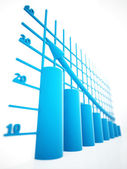 Blue columns of diagram — Stockfoto