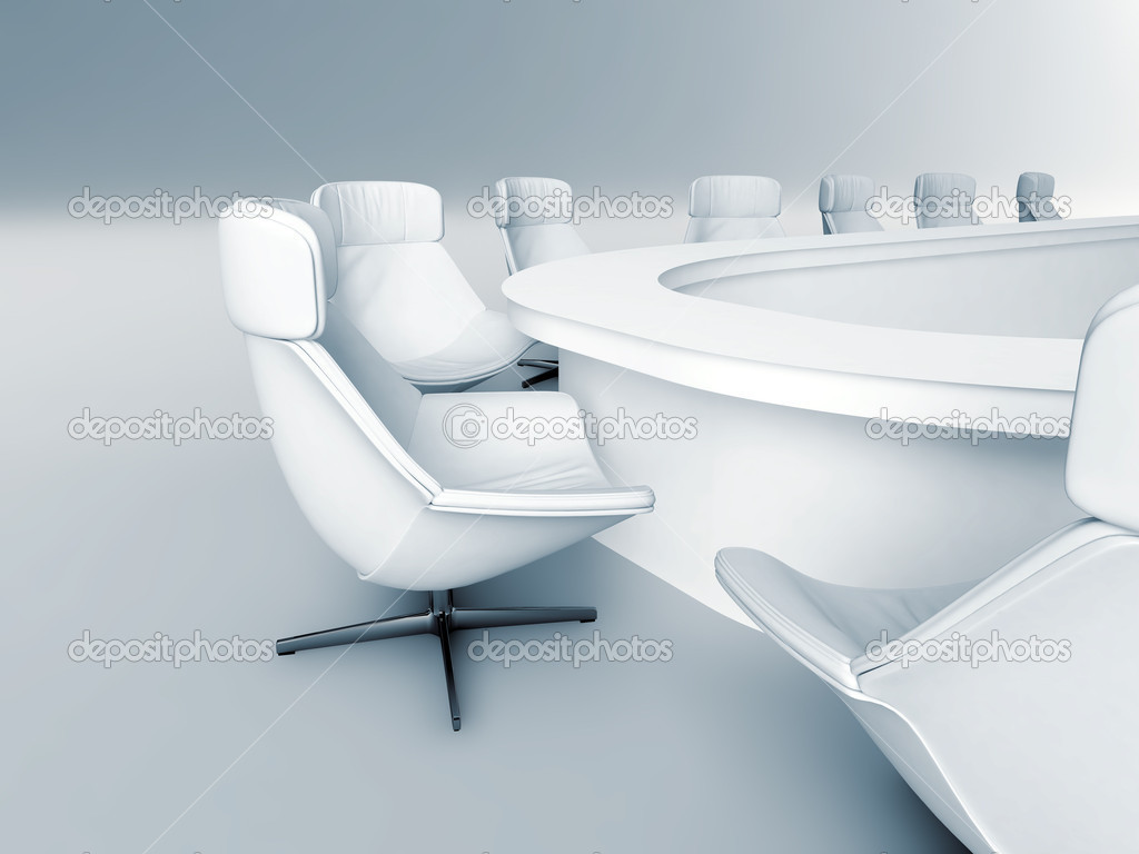 Rounded table is surrounded white leather chairs in a light room — Stock Photo #6549755