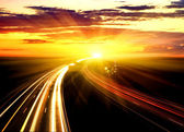 Sunset On The Highway. — Stock Photo