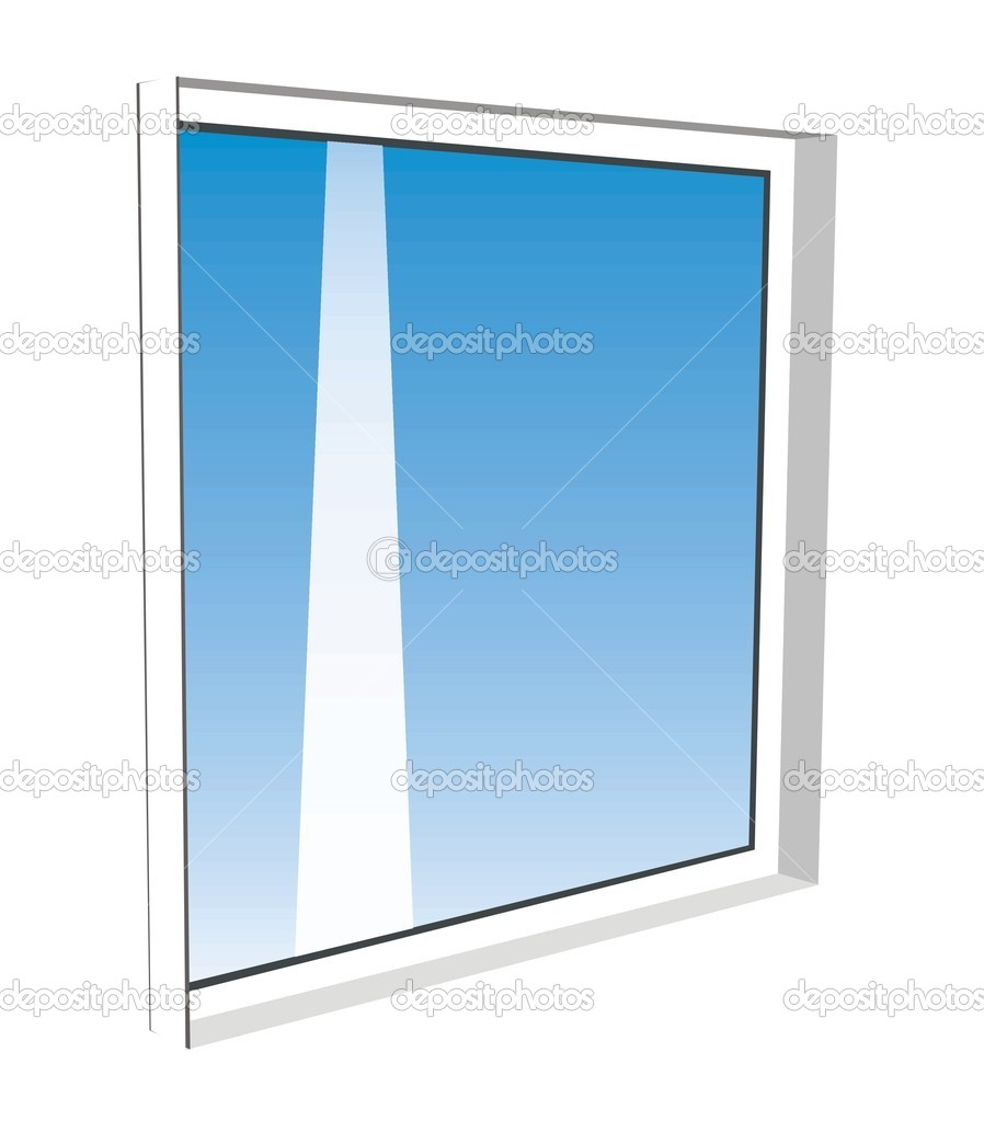 Window template model with clipping path included, vector illustration — Stock Vector #5401025