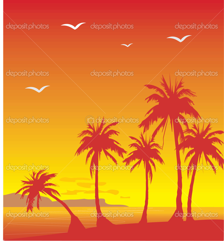 Decline on island with palm trees — Vettoriali Stock  #5401032