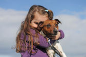 Jack russel terrier and child — Stock Photo