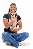 Girl and chihuahua — Stock Photo