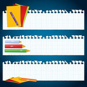 Back to School paper banners — Vector de stock