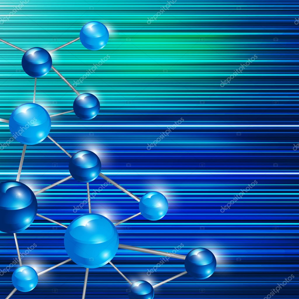 Futuristic blue molecule background, eps10 vector illustration — Stock Vector #6420109