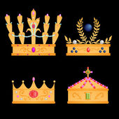 Royal crowns set — Stok Vektör