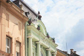 Renovated old building facades — Stock Photo